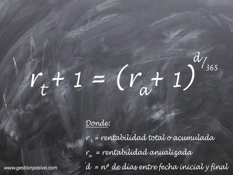 Fórmula para calcular la rentabilidad total de una inversión partiendo de la rentabilidad anualizada - gestionpasiva.com