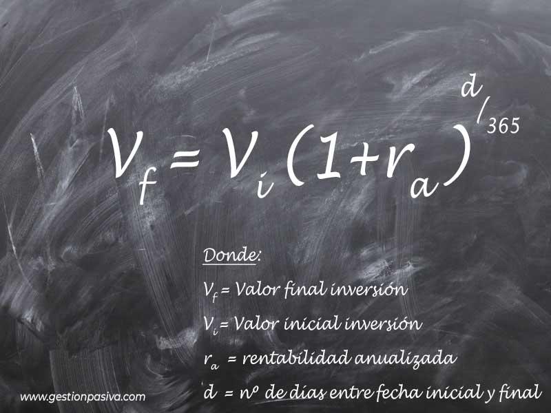Formula para calcular la rentabilidad anualizada de una inversión partiendo de € - gestionpasiva.com